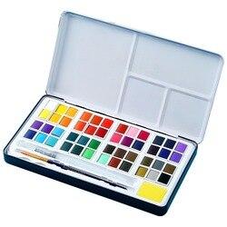 48 цветов твердая краска на водной основе набор металлическая железная коробка Акварельная краска пигмент Карманный Набор для рисования ху...