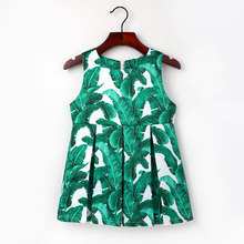 2-7Y Fashion Banana Leaf Princess Dress Girls Flowers Pattern Party Clothing Baby Kids Clothes Cute O neck Sleeveless Dresses(China)