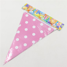2.5m handmade Polka Dot  Blue  Pink  Party Bunting Flags/Banners/Pennants Outdoor Decoration 1 set including 10 small flags 0225