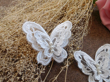 20 Pcs/Lot White mesh butterfly applique double 3D beading embroidery lace patch wedding clothing accessories lace fabric