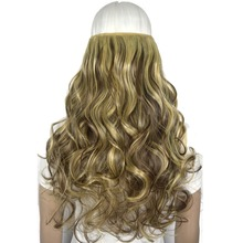 "TOPREETY Heat Resistant Synthetic Fiber 22"" 55cm 130g Body Wave 5 Clips on Clip in hair Extensions"