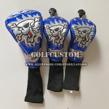 2017 NEW Design of 3pcs/set Blue embroid Skull Driver Woods Cover 3Pcs/Set Golf Club Headcovers for Driver 1# Fairway3# 5#(China)
