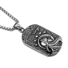 HIP Punk 12 Zodiac Sign Men Virgo Charm Necklaces & Pendants Solid Casting Stainless Steel Dog Tags Necklace for Men Jewelry
