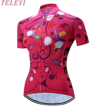 TELEYI Leopard Style Women's Cycling Jersey Shirt Tops Summer Outdoor MTB Bike Cycling Clothing Bicycle Sportswear