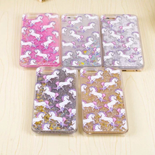 LACK Cartoon Unicorn Horse Dynamic Paillette Glitter Stars Water Liquid Case for iPhone 5 5s SE Hard plastic Covers Phone Case(China)