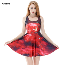 Onseme Sexy Women Galaxy Dress Adventure Time Sleeveless Club Mini Dresses Fashion Woman Ladies Dress Jurken Zomer Dames GG035