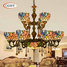 ODIFF European Retro stained glass 12 head Hotel living room villa Bar Double-deck Crystal Birdie rose Pendant Lights 110-240V(China)