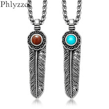 Vintage Feather Necklaces & Pendants Mens Blue Stone Pendant Necklace Stainless Steel Statement Jewellery P061