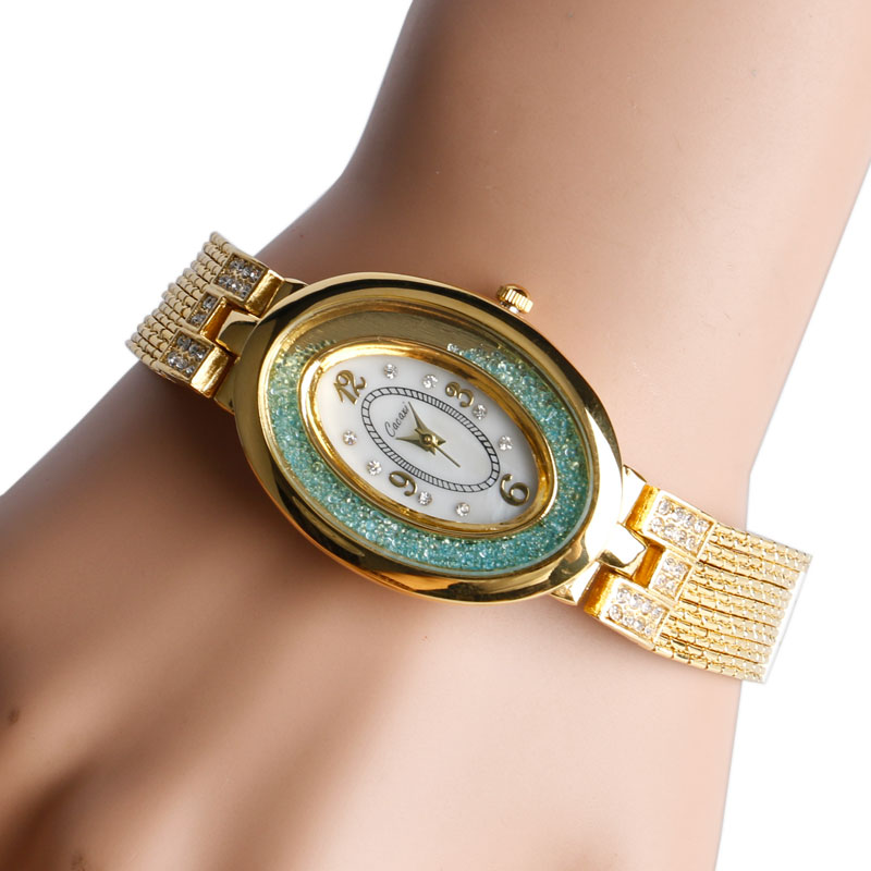 Luxury White Oval Mint Green Crystal Dial Golden Rhinestone Band Women Wrist Watch Casual Bling Business Bracelet Ladies Gift<br><br>Aliexpress