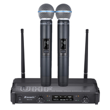 Professional Dual Channel UHF Wireless Microphone Receiver 2 Handheld Microphone for Karaoke Family Party Performance(China)