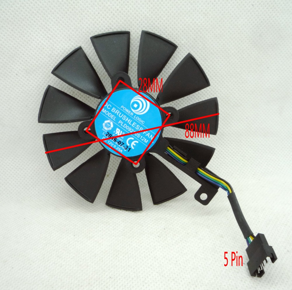 New Original MSI Graphics card cooling fan FDC10H12S9-C T129215SM PLD09210S12M 12V 0.25A pitch 28MM diameter 88MM <br>