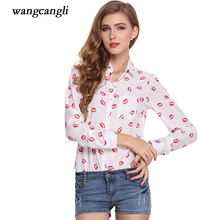 blouse women printing Leopard Lips Five-pointed star Jesus crosses Dots full sleeves Cardigan buckle summer female Large size x(China)