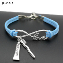 Fashion Infinity Love Tooth Toothpaste Toothbrush Charms Friendship Bracelet For Women Men Gift(China)