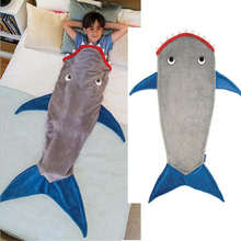 Hot Sale Shark Mermaid Tail Blanket Air Sofa Throw Rugs Fleece Travel Sleeper Stroller Children Sleeping Bag Girls/Boys Blankets(China)