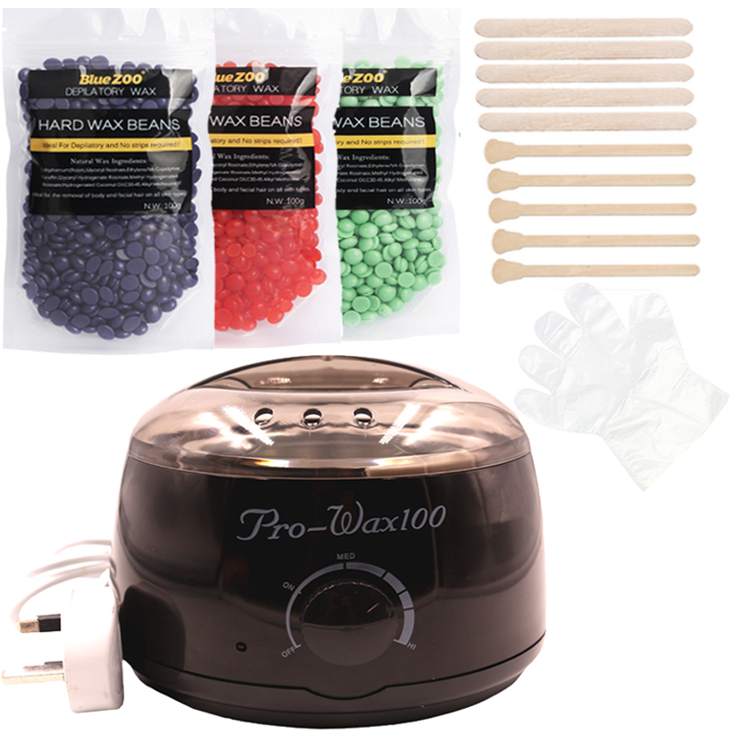 Professional SPA Salon Wax Epilator 3*100g Pearl Wax Hair Removal Machine Set Kit Brazilian Bikini Waxing Depilatory Heater<br>