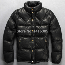 100%goatskin 2014 Fashion men down coat black/yellow genuine leather coat super warm down coat in winter leather jacket