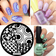 QUEEN Series Heart Shape & Leave Texture Nail Art Stamping Template Image Plate