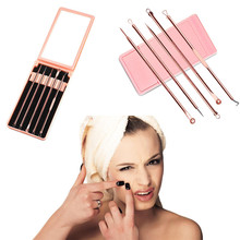 New Arrival 5Pcs/1Set Pro Pimple Blemish Comedone Acne Extractor Remover Tool Set Stainless steel Blackheads remove Acne needles