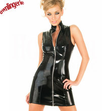 Buy Free Shipping Wetlook PVC Leather Women Fetish Casual Mini Dress,Mulity Size Sleeveless Zipper Leather Clubwear Clothing Dress