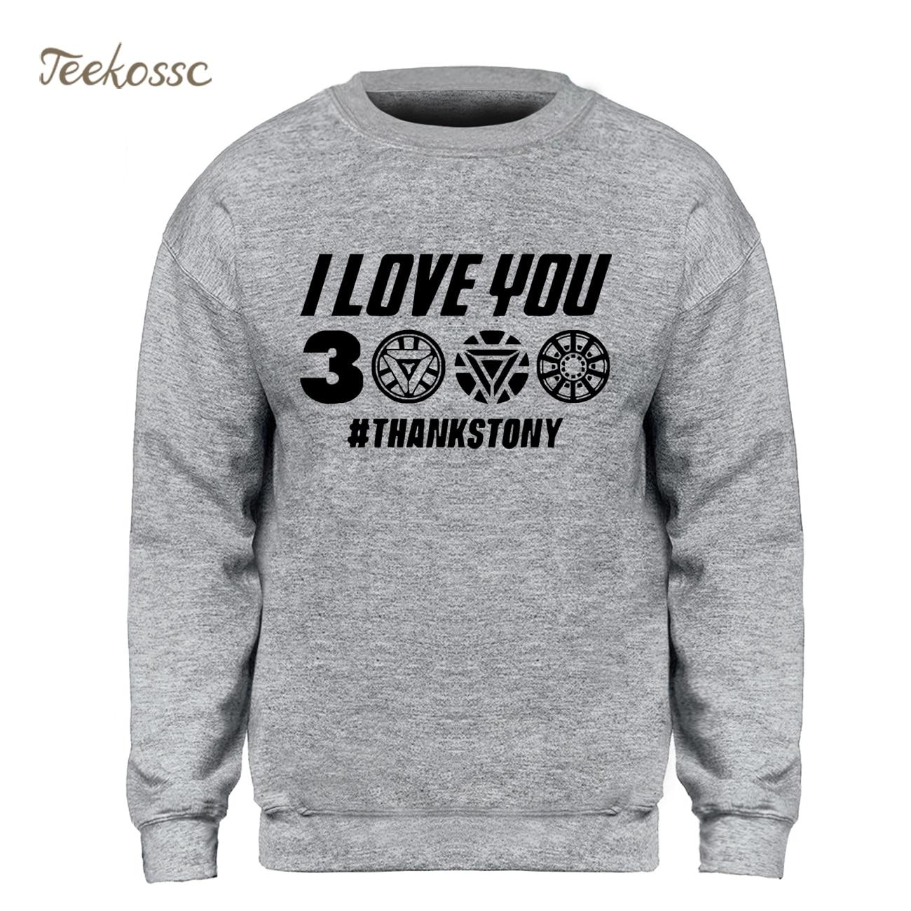 I Love You 3000 Times Sweatshirt Men Iron Man Tony Stark Hoodie Sweatshirts Winter Autumn Harajuku Funny Superhero Streetwear