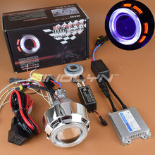 Sinolyn Motorcycle Headlight HID Bi-xenon Projector Lens Kit Double Angel Eyes Halo Demon Eyes For Suzuki Yamaha Kawasaki Honda