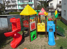 Hot Sold To Poland Top Quality Children Playground Outdoor CE Certificated Plastic Playground Set HZ-SP05 Golden Factory