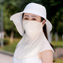 Sun hat Anti-UV Large brim hat female summer sun hat sunbonnet Women face mask neck protection full protection hat(China)