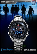 TVG Hight Quality Stainless Steel Men's Clock Fashion Blue LED Pointer Watch Mens 30AM Waterproof