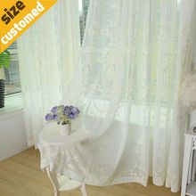 White Embroidered Voile Curtains Bed room Sheer Curtains Bed Room Tulle Window Curtains/Panels Window Screening Price for 1meter