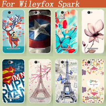 For Wileyfox Spark Plus 5.0 inch Cover Fashion Popular Case Lovely 8 Colored Patterns 3D DIY Painted case For Wileyfox Spark