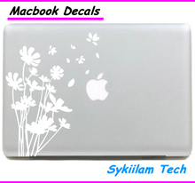 White Flowers in the Wind Butterfly for Apple Vinyl Sticker for Macbook Skin Air 11 13 Pro 13 15 17 Retina Laptop Plant Decal