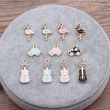 MRHUANG 10pcs/pack Bird Car violin Golden Plated Enamel Charms Pendant DIY Bracelets Necklace Jewelry Accessories(China)