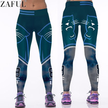 ZAFUL 2017 New Raiders Rugby Digital Printing Sport Pants Women Running Tight Elastic Personality Outside Wearing Slim Leggings(China)