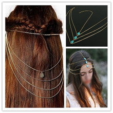Bohemian Women Lovely Fashion Charming Metal Alloy Head Chain Jewelry Forehead Dance Headband Piece Hair Band
