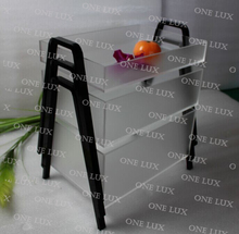 (3 pieces / lot) ONE LUX  Stackable Foggy Acrylic Fruit Tray,Perspex Nesting Candy Organizer,Frosted Lucite Serving Tray V legs