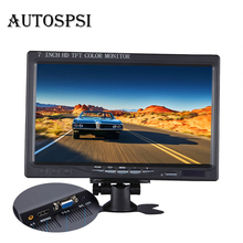 AUTOSPSI 800 x 480 7 inch Car Monitor Bright Color HDMI Interface TFT LCD AV VGA Auto Rear View Monitor