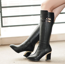 Winter Women's Metal Trim Side Zipper Pointed Toe Med Heel Shoes Knee HIgh Fashion Ladies Boots Black US4--8