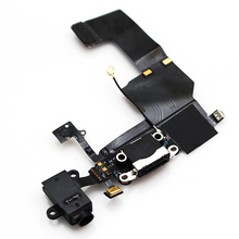 For iPhone 5C Dock Charging Port Headphone Jack Mic Connector Flex Cable Repair, black, free shipping