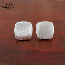 QIAMNI 925 Sterling Silver Punk Square Brushed Matt Geometry Stud Earring for Women Girls Christmas Party Birthday Gifts Jewelry