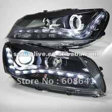 For VW Passat B7 LED Head Lamp Angel Eyes 2011 V2 Type
