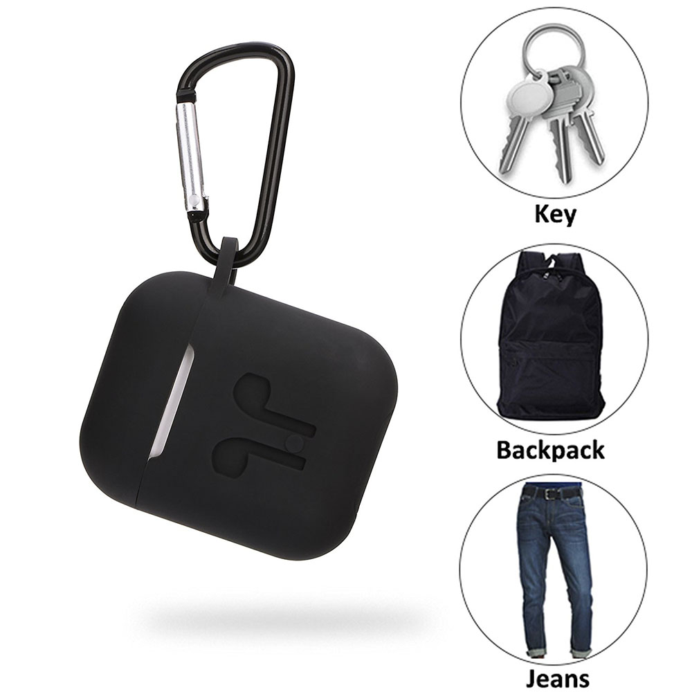 4In1 Function Case For Earpods Silicone Pouch Box+Anti-Lost Headphone Strap+Ear Cover Hooks+Carabiner Keychain For Apple AirPods