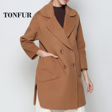 2018 New Trend Fashhion Pure Wool Outwear Double Breasted Wool Coat OEM Factory Wholesale Price WSR138(China)
