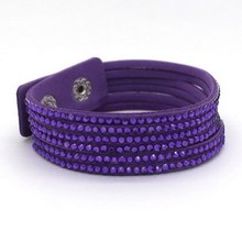 Buy Popular Purple Leather Bracelet Woman! Fashion Jewelry Classic Leather Bracelet, free shipping! Wholesale! for $1.01 in AliExpress store