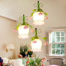 Green pendant lights pastoral style lantern creative personality restaurant bedroom garden glasshare pendant lamps 1/2 heads ZA