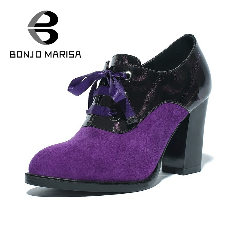 BONJOMARISA 2017 New Patchwork High Heel Women Shoes Black Purple Platform Pumps Lace Up PU Leather Casual OL Dress Shoes Woman<br><br>Aliexpress