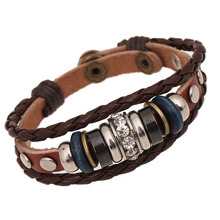 BA193 Wholesale Vintage Crystal Charm Leather Adjustable Bracelet Wristband Jewelry Bijouterie Unisex Girls Woman