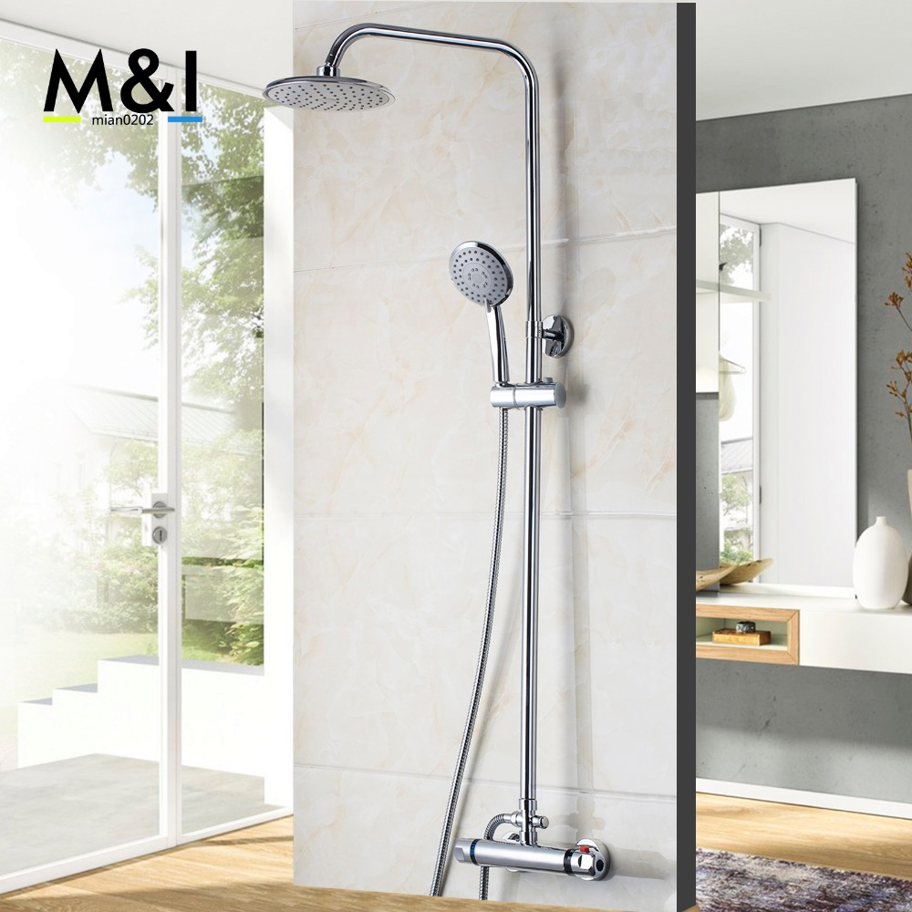 Luxury Wall Mounted Rain Shower faucets Set Stainless steel top spray ABS Hand Shower Thermostatic Faucets Shower Set