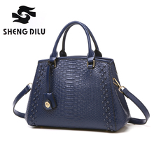 Brand Women's Alligator Genuine Leather Purse Zipper Hard Shoulder Bag Crossbody Fit Ipad Handbag Solid Satchel Casual Blue