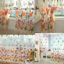 1PC Cute Butterfly Print Sheer Window Panel Curtains Room Divider New Home decor