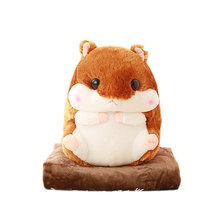 New Office Travel Cushion Blankets Birthday Gifts Cute Hamster Hold Pillow Blanket Home Decoration Bedding Coral Wool Blanket(China)